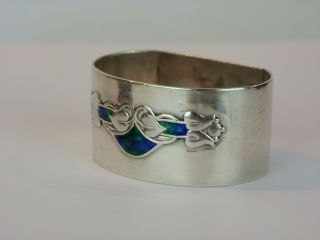 A Wonderful Archibald Knox Silver And Enamel Napkin Ring.  Haseler/ Liberty & Co photo