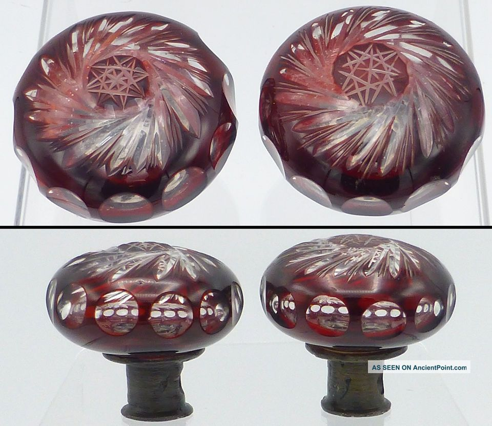 Antique Red Clear Cut Cased Glass Door Knob Door Knobs & Handles photo