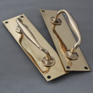Pair Antique Victorian Brass Pull Handles photo