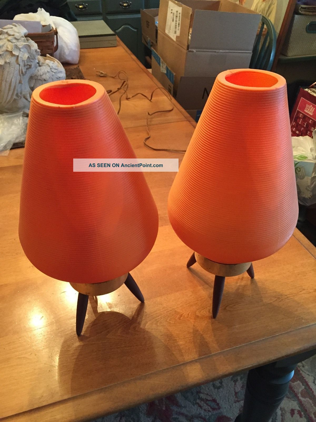 Atomic Beehive Table Lamps Orange Mid Century Mid-Century Modernism photo