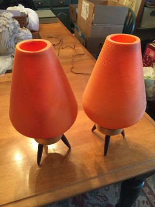 Atomic Beehive Table Lamps Orange Mid Century photo