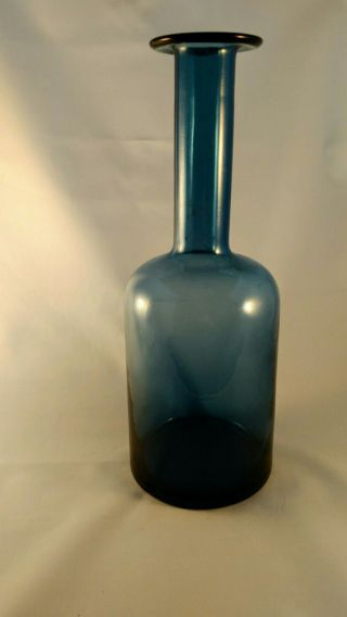 Mid Century Danish Modern Holmegaard Style Gulvase Sculpture Vase Blue photo