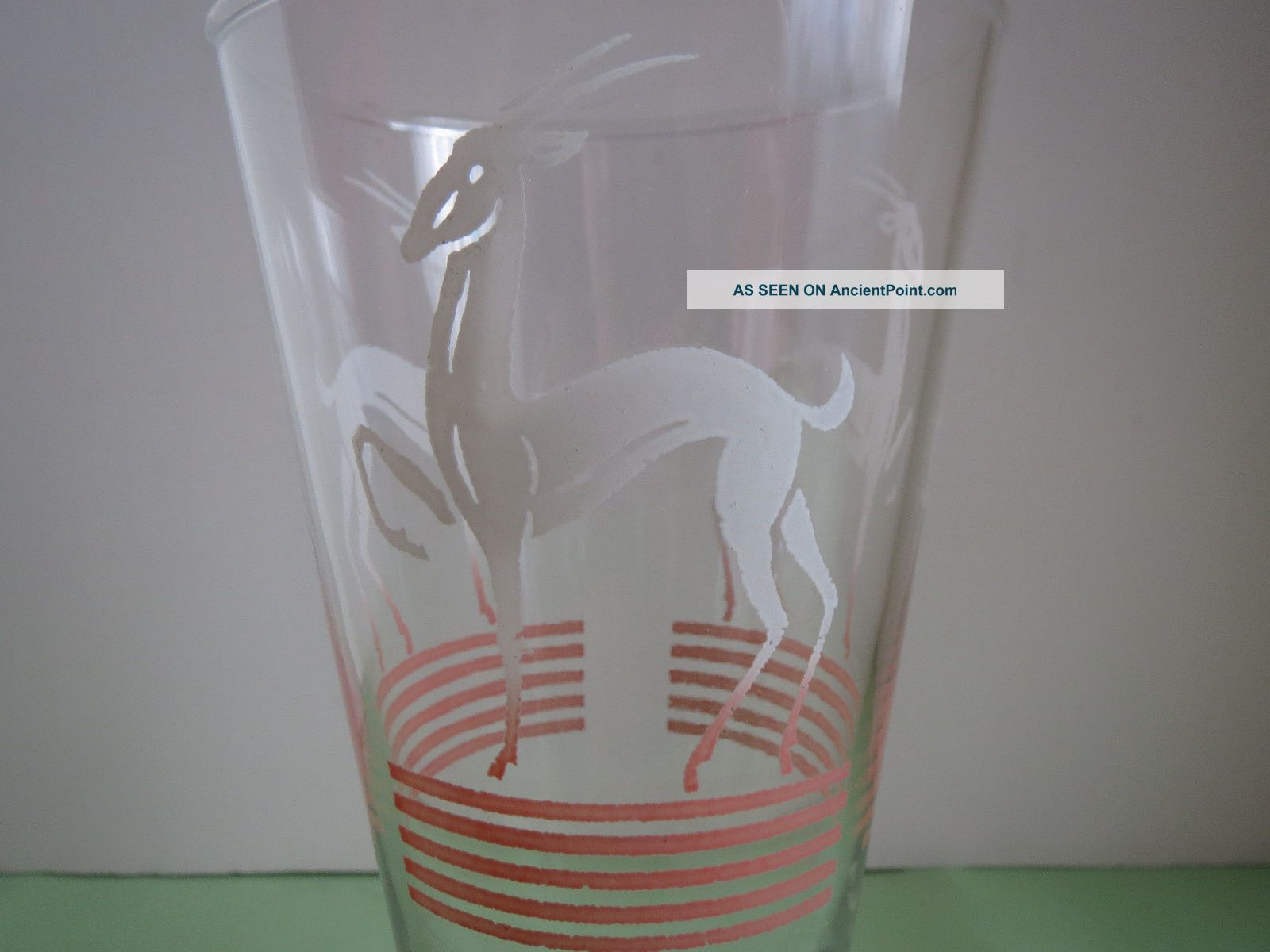 Anchor Hocking Art Deco Antelope Gazelle Pinstripe Pink Fade Highball Bar Glass Art Deco photo