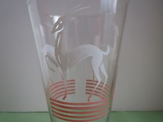 Anchor Hocking Art Deco Antelope Gazelle Pinstripe Pink Fade Highball Bar Glass photo