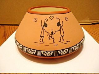 Native American Jemez Pueblo Storyteller Pot By Patricia Jones.  Signed photo