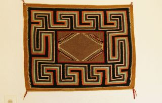 Hand Woven Navajo Red Mesa Saddle Blanket photo