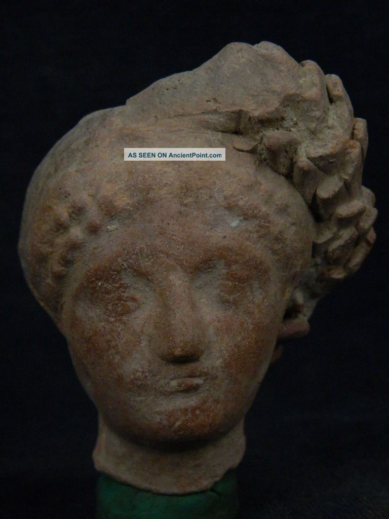 Ancient Teracotta Head Roman C.  200 Bc Tr507 Roman photo