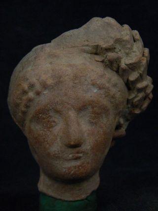 Ancient Teracotta Head Roman C.  200 Bc Tr507 photo