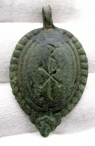 Late Roman Bronze Chi - Rho / Christogram Pendant - Rare Wearable Artifact - C432 photo