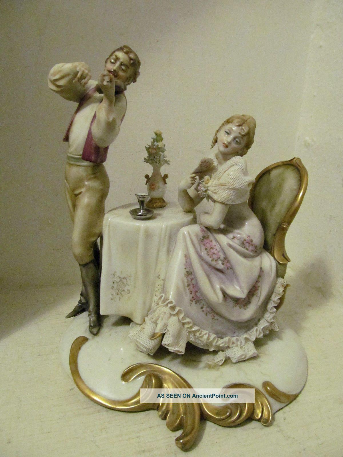 Vintage A.  Borsato Capodimonte W Lace Figurine Couple Enjoying Violin Serenade Figurines photo