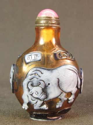 Chinese Ox Horse Carved Peking Overlay Glass Snuff Bottle photo