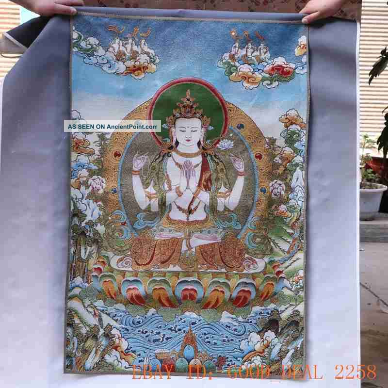 Tibetan Nepal Silk Embroidered Thangka Tara Tibet Buddha - - Vajrasattva 51 Paintings & Scrolls photo