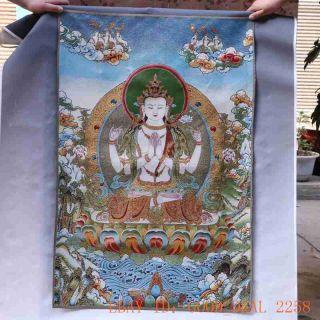 Tibetan Nepal Silk Embroidered Thangka Tara Tibet Buddha - - Vajrasattva 51 photo