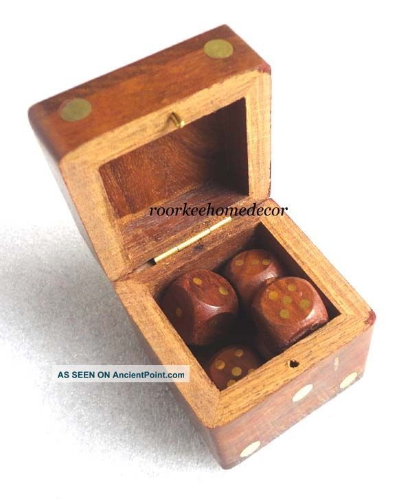 Awesome Elegant Wooden Dice Game,  Collectible Replica Gift Other Maritime Antiques photo