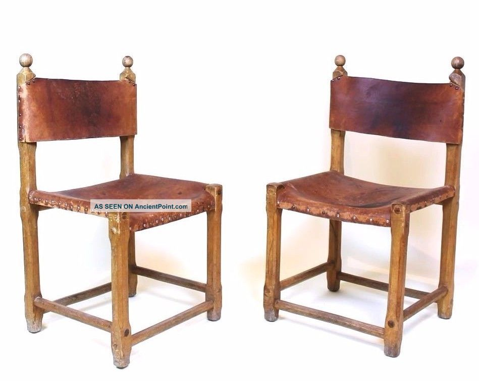 Vintage Retro 1970 ' Hungarian Craftsman Oak And Saddle Leather Chairs 1900-1950 photo