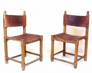 Vintage Retro 1970 ' Hungarian Craftsman Oak And Saddle Leather Chairs photo