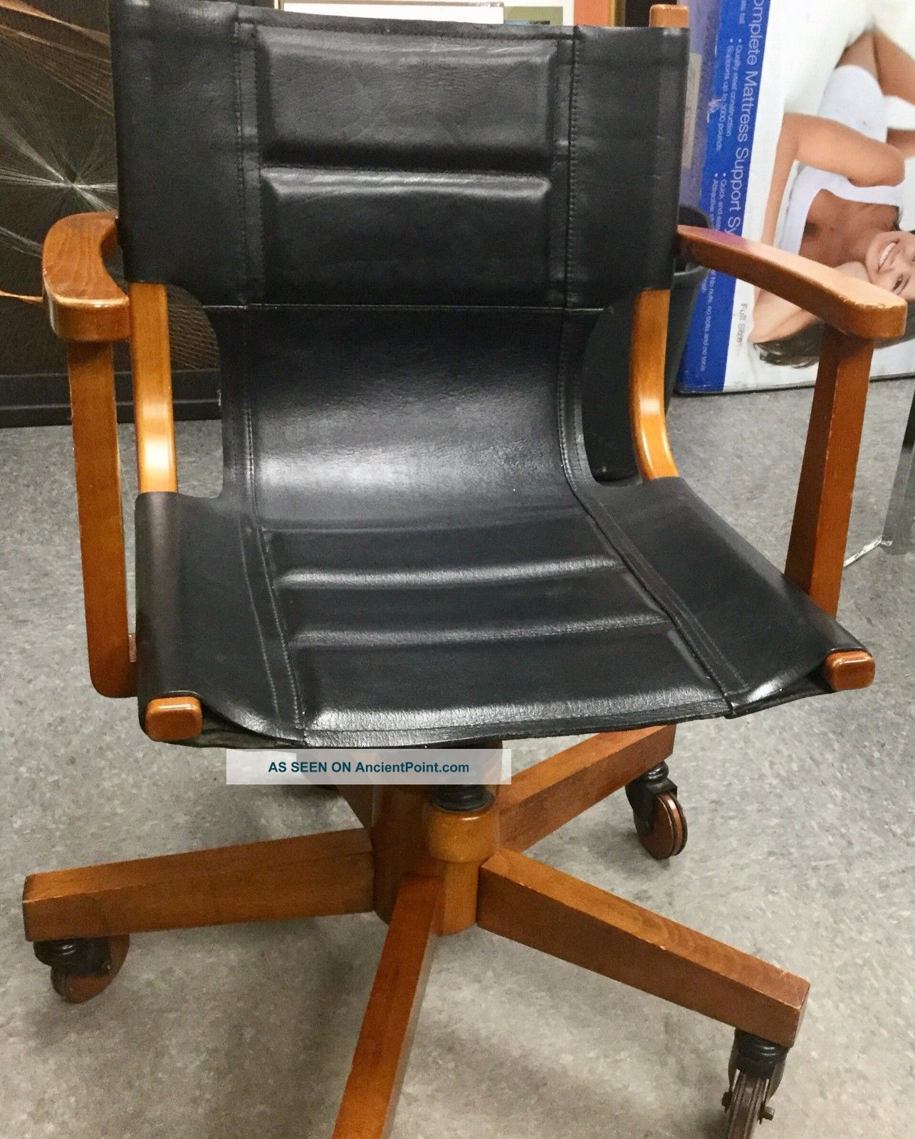 Asher Benjamin Studio Black Leather Wood Wheels Office Chair Mid Century Modern Post-1950 photo