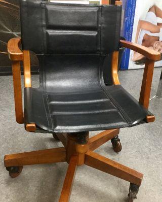 Asher Benjamin Studio Black Leather Wood Wheels Office Chair Mid Century Modern photo