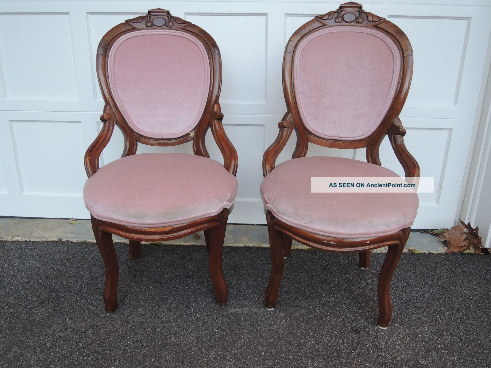 Two Antique Victorian Parlor Chairs Newly Upholstered - 1900-1950 photo