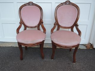 Two Antique Victorian Parlor Chairs Newly Upholstered - photo