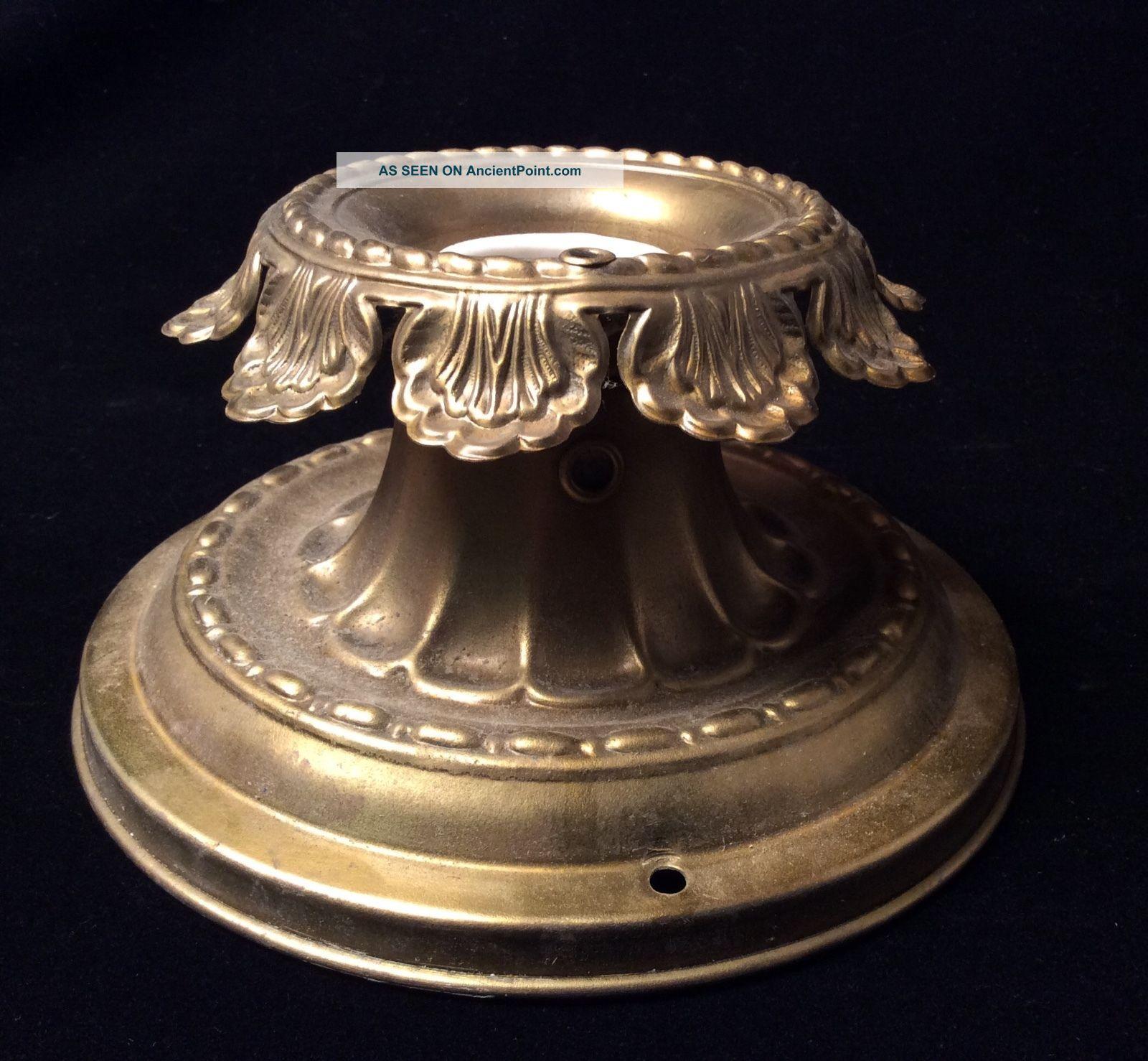 Antique Art Deco Single Bulb Flush Mount Light Fixture,  Bronze Color Chandeliers, Fixtures, Sconces photo