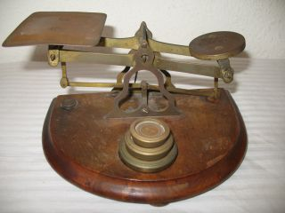 Balance Scale W Weights Criterion British England Vintage Post Office Wood Brass photo