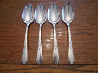 4 Rogers 1934 Encore Pattern Table Serving Spoons Oneida Ltd Silverplate 852 photo
