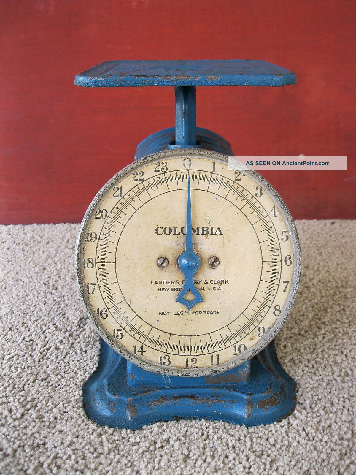 Antique Scale Columbia Family Household Landers Frary Clark Blue Paint Scales photo