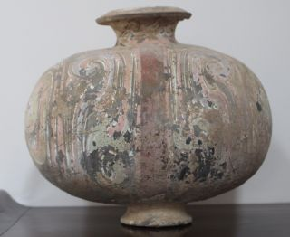 Rare Chinese Han Dynasty Painted Cocoon Jar photo