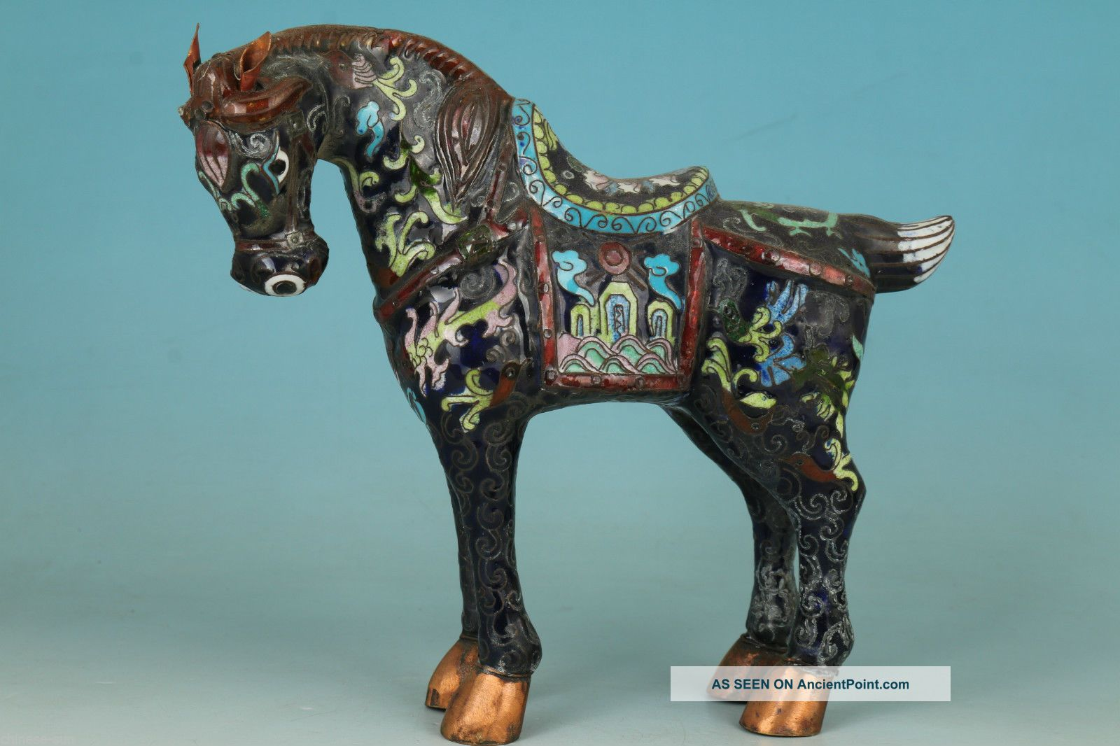 Chinese Old Cloisonne Handmade Carving Horse Collect Statue Home Decoration Other Antique Chinese Statues photo