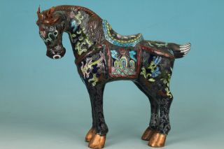 Chinese Old Cloisonne Handmade Carving Horse Collect Statue Home Decoration photo