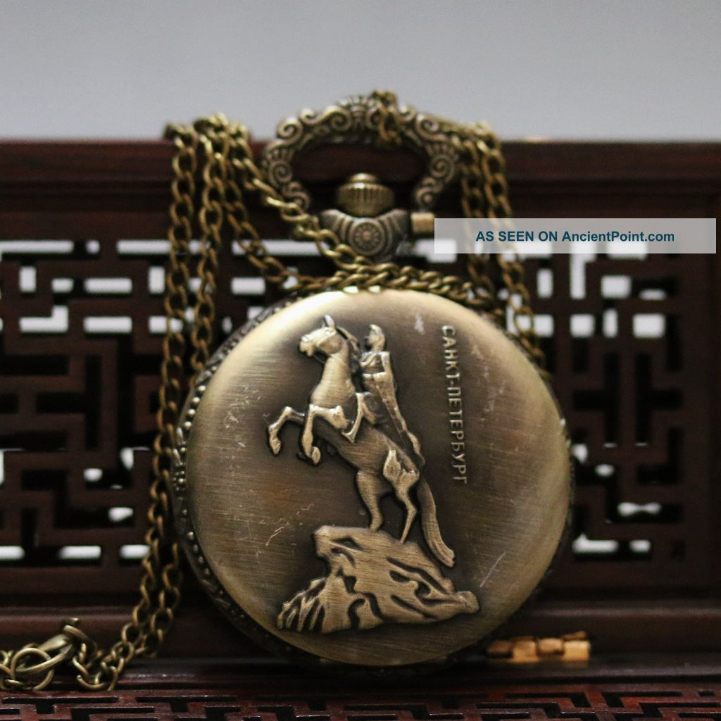 Oriental Vintage Collectible Handwork Man & Horse Brass Pocket Watch Csyb421 Tables photo