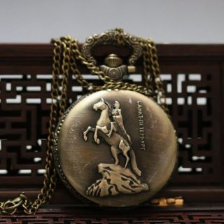 Oriental Vintage Collectible Handwork Man & Horse Brass Pocket Watch Csyb421 photo