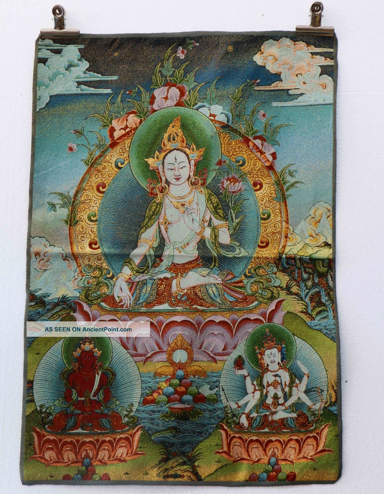 Tibet Collectable Silk Hand Painted Guanyin & Bodhisattva Painting Thangka Paintings & Scrolls photo