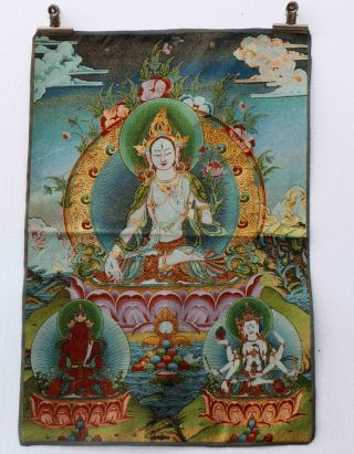 Tibet Collectable Silk Hand Painted Guanyin & Bodhisattva Painting Thangka photo