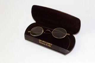 Antique Oval Eyeglasses Spectacles Brass Flextemples Watertown Sd Prey&prey Case photo