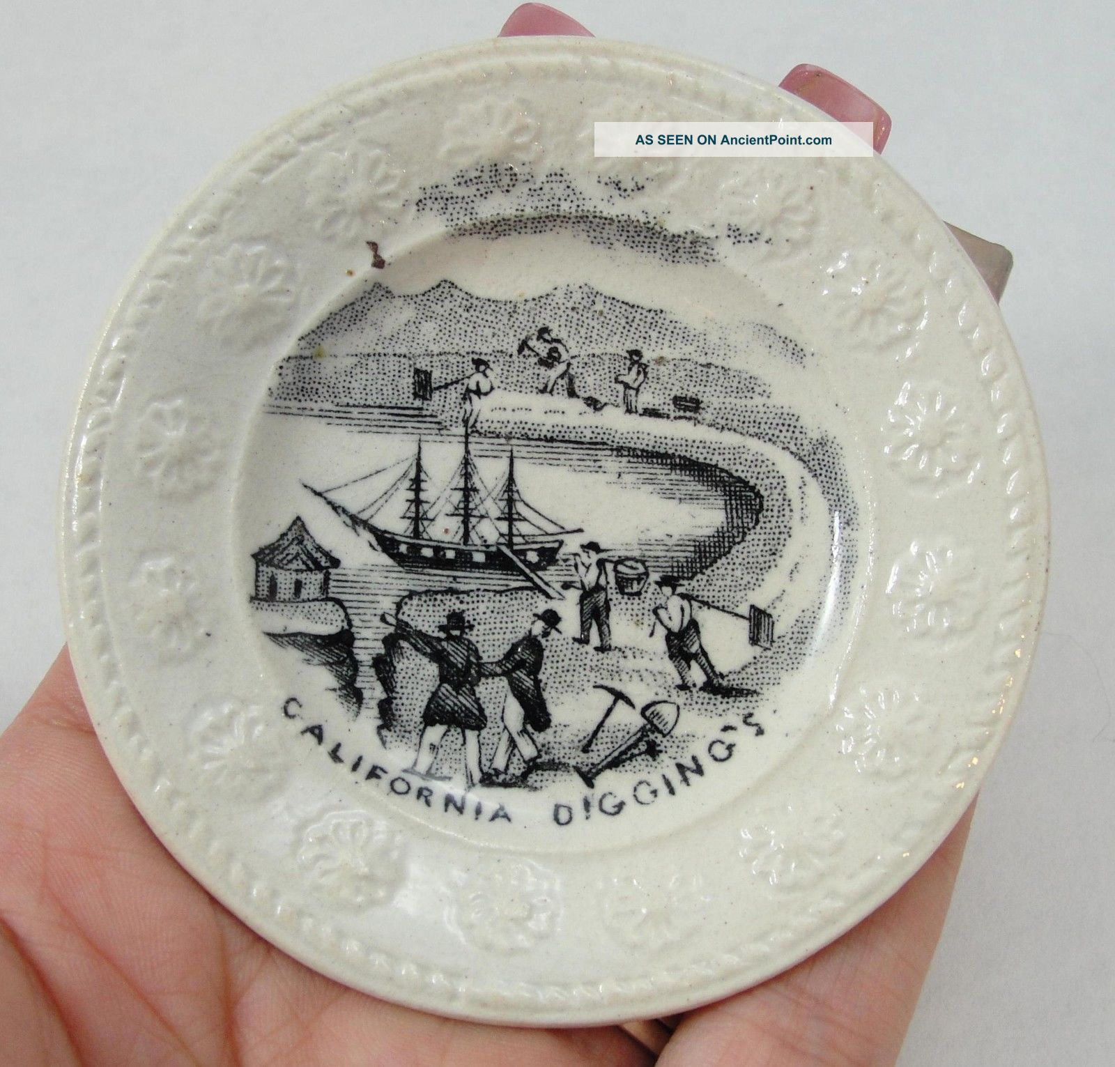 Antique Jt & Sons Transferware California Gold Rush Mining Miniature Cup Plate Mining photo