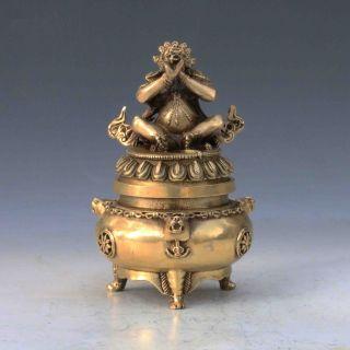 Chinese Brass Handwork Carved God Buddha Incense Burner & Lid M0053gd4914 photo