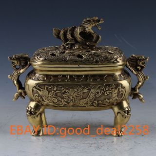 China Brass Handwork Carved Dragon Statue Incense Burner W Xuande Mark Gd4444 photo