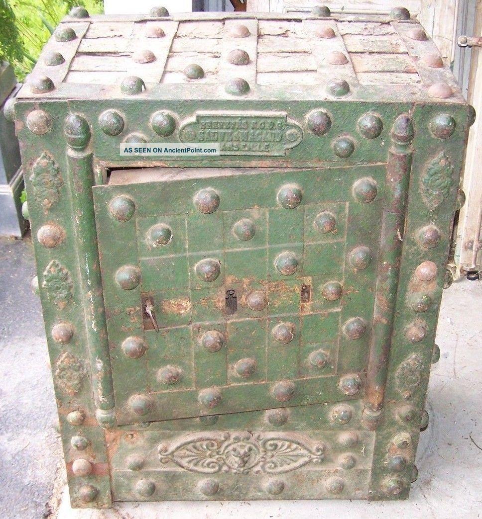 Vintage Safe,  Hobnail Safe,  Vintage Safe,  Rustic Safe,  Man Cave Decor,  Salvage Safes & Still Banks photo