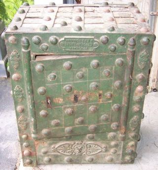 Vintage Safe,  Hobnail Safe,  Vintage Safe,  Rustic Safe,  Man Cave Decor,  Salvage photo