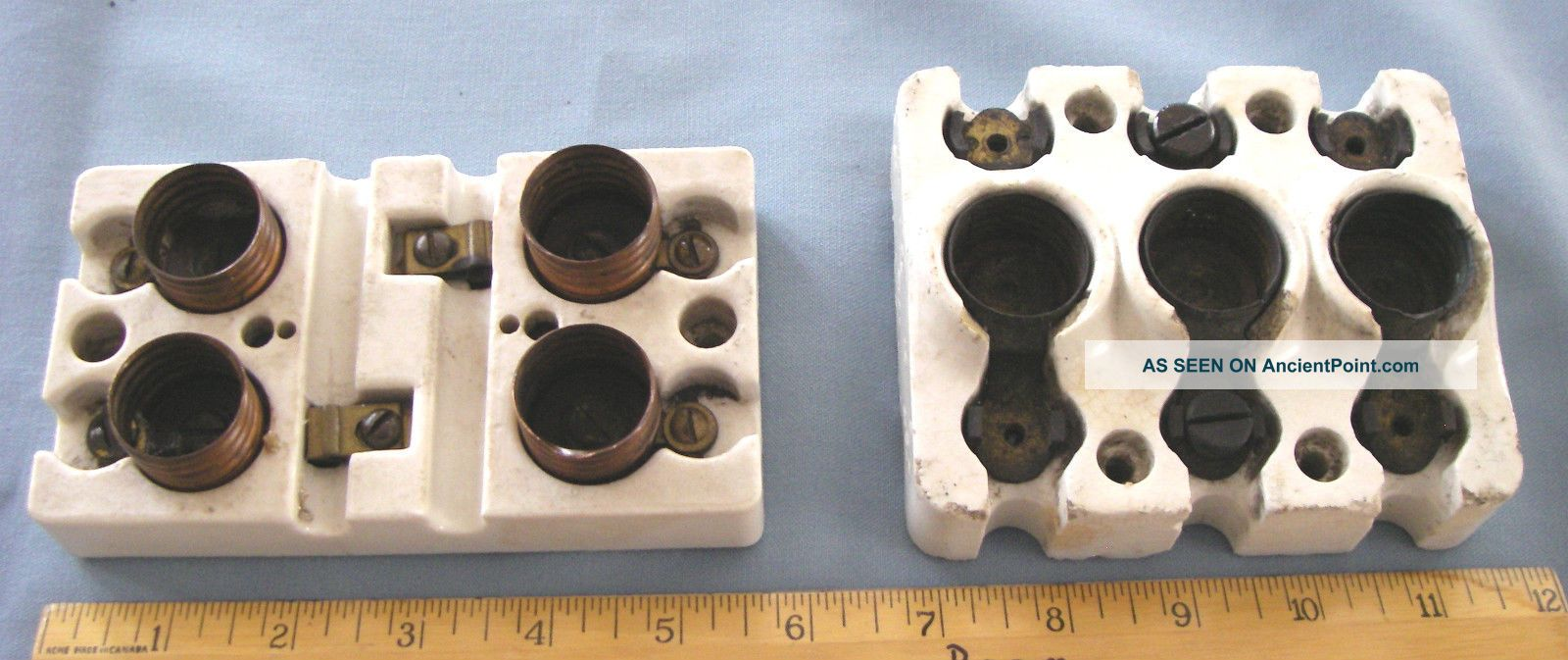 2 Antique Copper Electric Light Sockets Switch Steampunk Frankenstein Porcelain Other Mercantile Antiques photo