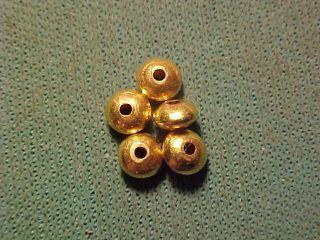 5 Roman Gold Disc Beads Circa 100 - 400 Ad photo