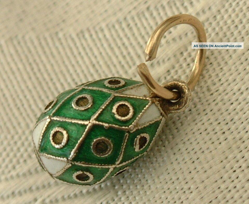Antique Russia Russian Faberge Era Miniature Silver Enamel Easter Egg Pendant 4 Russian photo