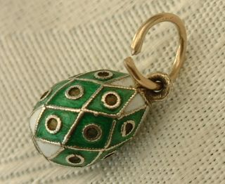 Antique Russia Russian Faberge Era Miniature Silver Enamel Easter Egg Pendant 4 photo
