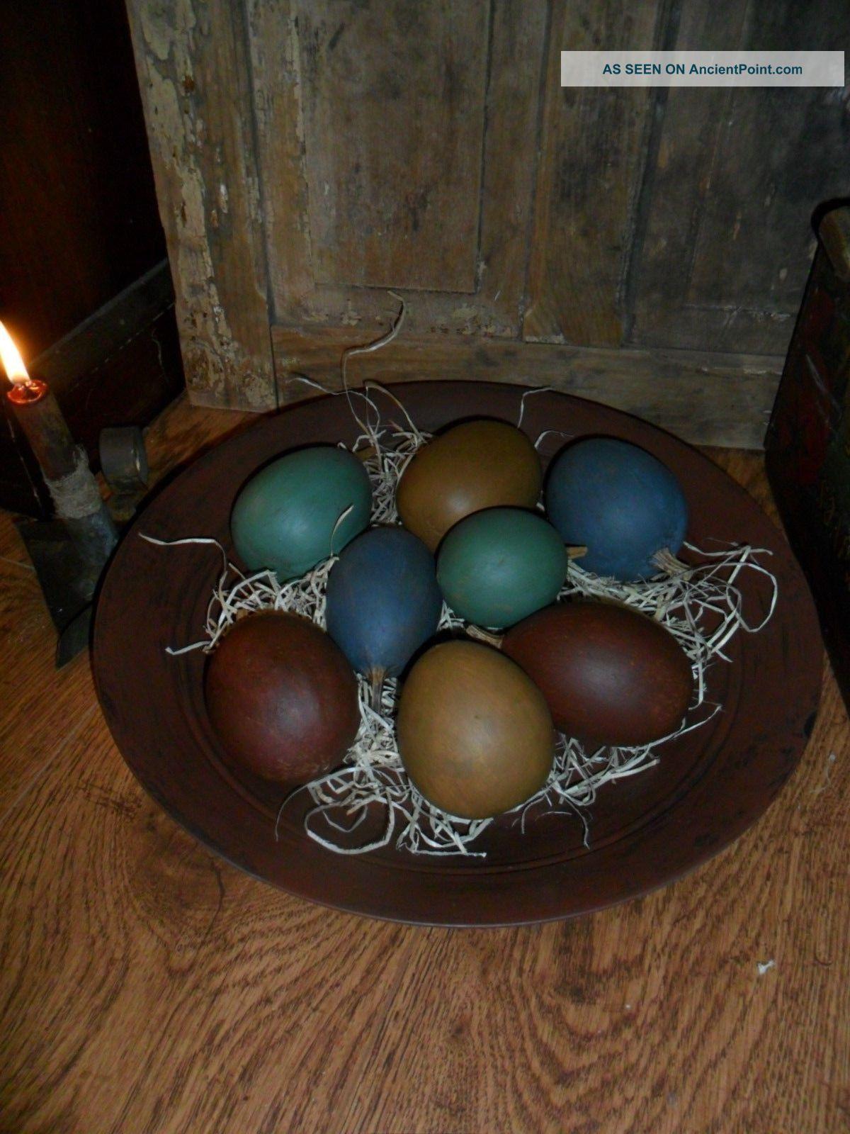 Primitive Large Metal Trencher / Bowl,  Filled W/ Lg.  Painted Egg Gourds,  Spring Primitives photo