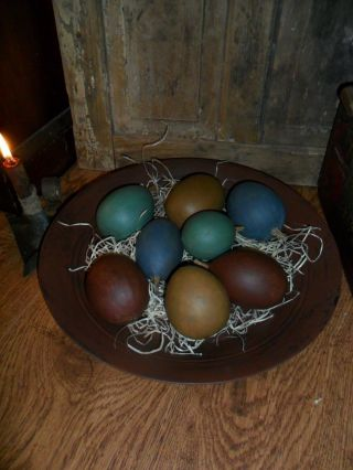 Primitive Large Metal Trencher / Bowl,  Filled W/ Lg.  Painted Egg Gourds,  Spring photo