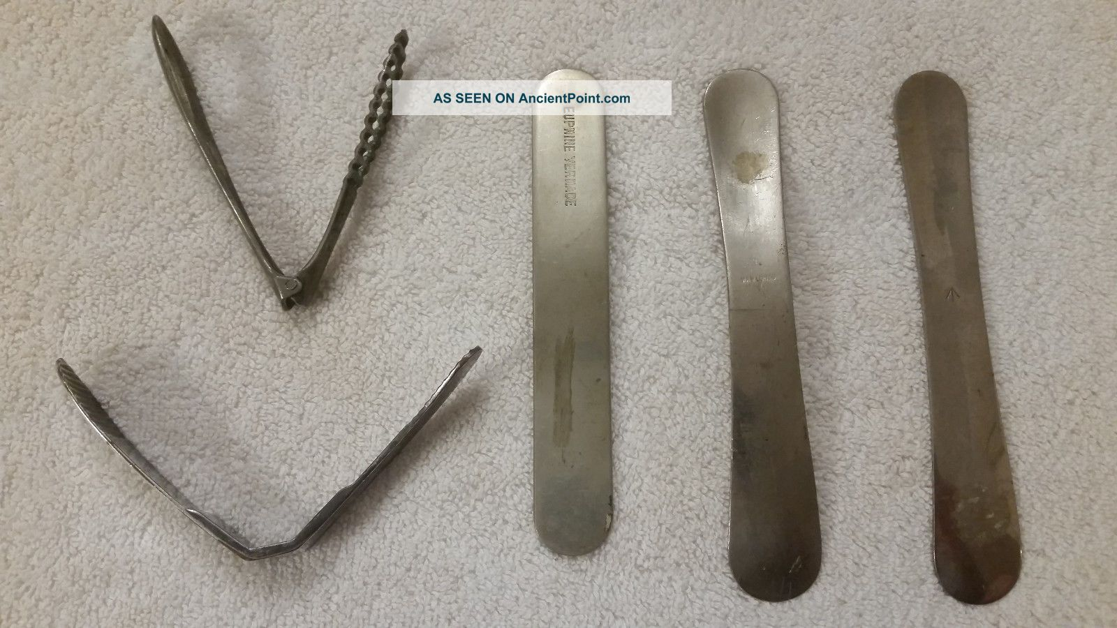 Five Antique Tongue Depressors - Please See Pictures And Description Other Medical Antiques photo