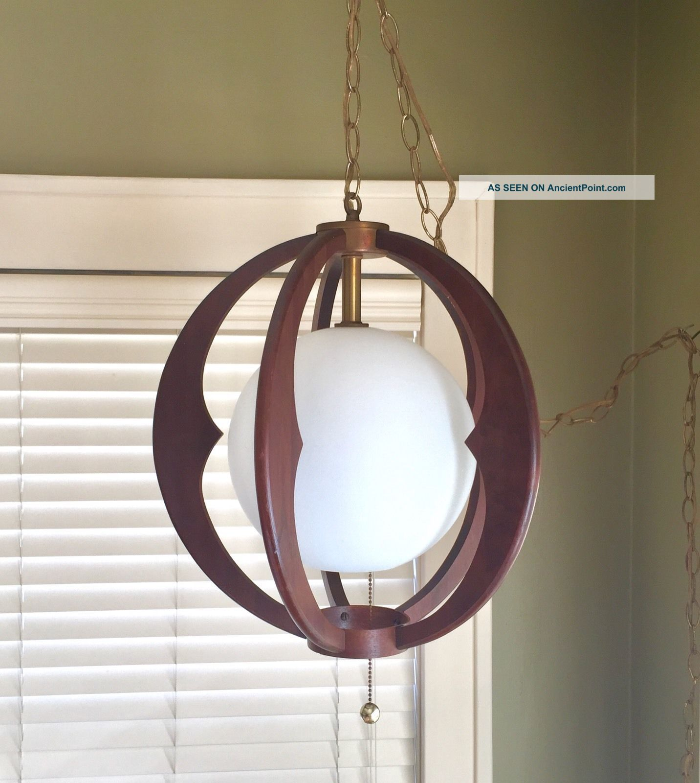 Mid - Century Modern Atomic Teak Wood Ceiling Swag Light Mid-Century Modernism photo