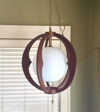 Mid - Century Modern Atomic Teak Wood Ceiling Swag Light photo